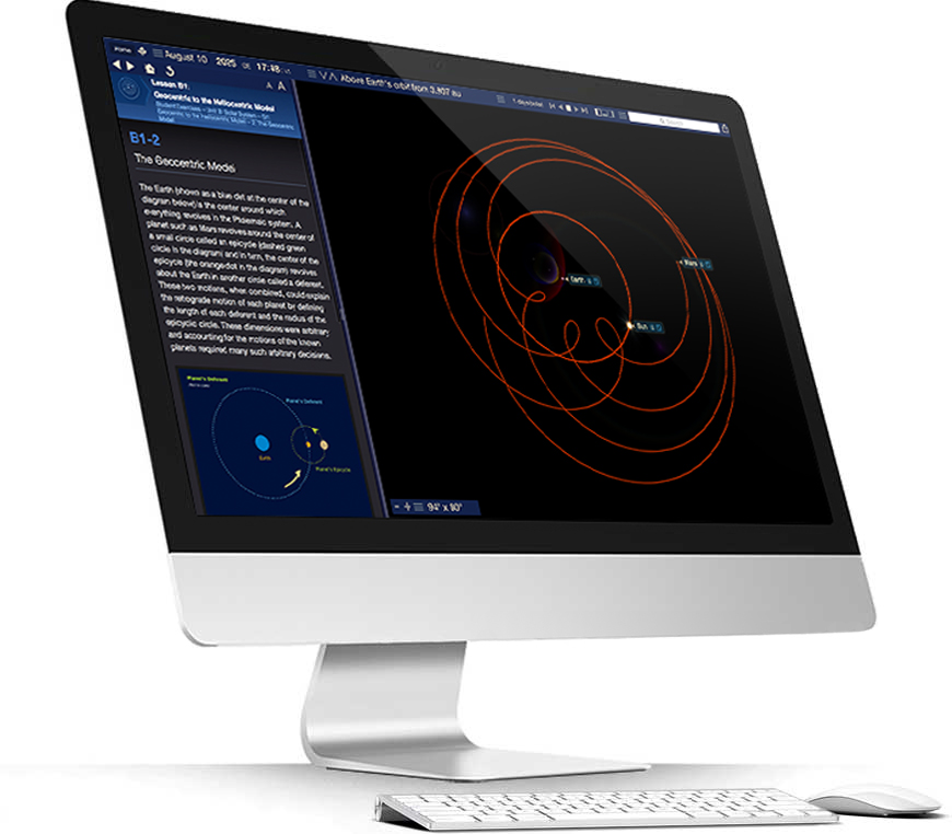 Apple iMac running Starry Night College software showings a geocentric universe simulation
