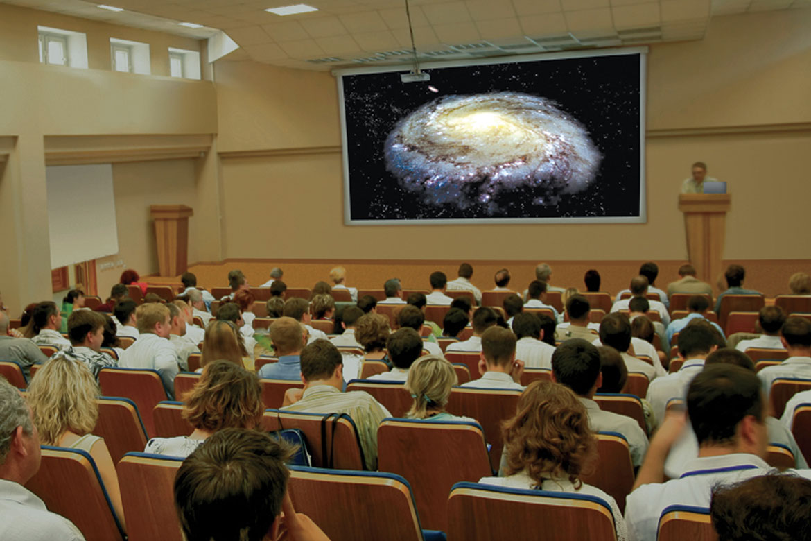 Starry Night Podium projected on a large screen in a classroom